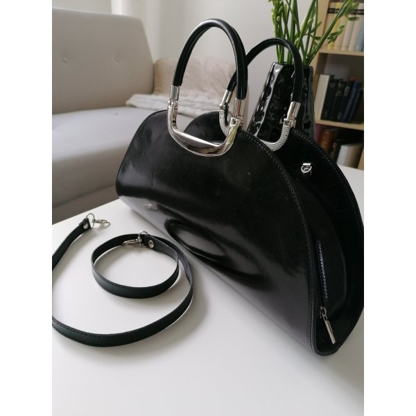 Genuine Leather Traditional Bag black-silver-colored