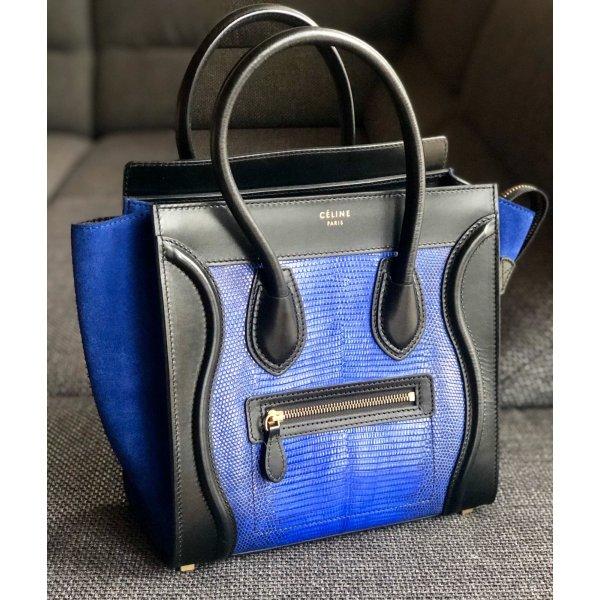 Tasche Celine, blau mit Reptilleder
