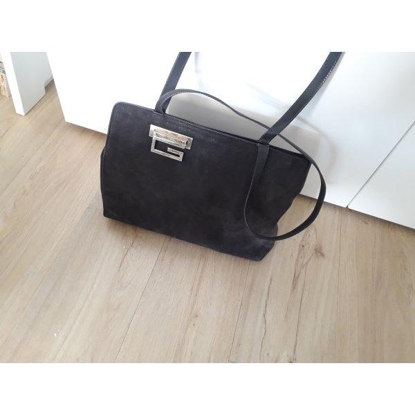 Tasche Handtasche Gucci Bag Italy Italien schwarz gold Leder Wildleder Vintage original
