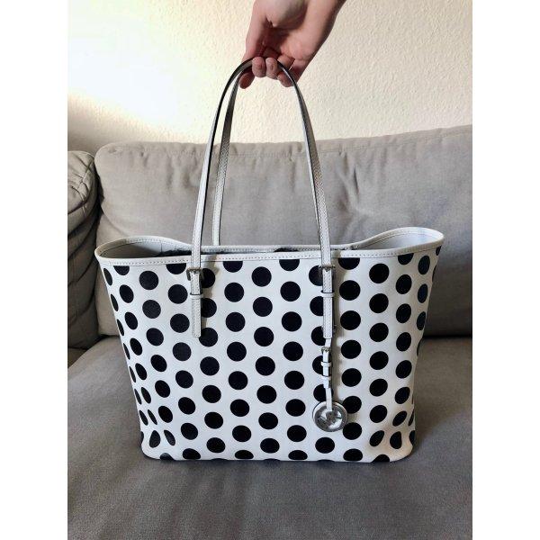 Tasche Michael Kors Jet Set Travel Polka Dot limitiert weiß schwarz MK punkte