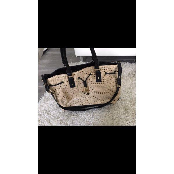 Tasche Shopper schwarz beige Venturini NEU gold Handtasche