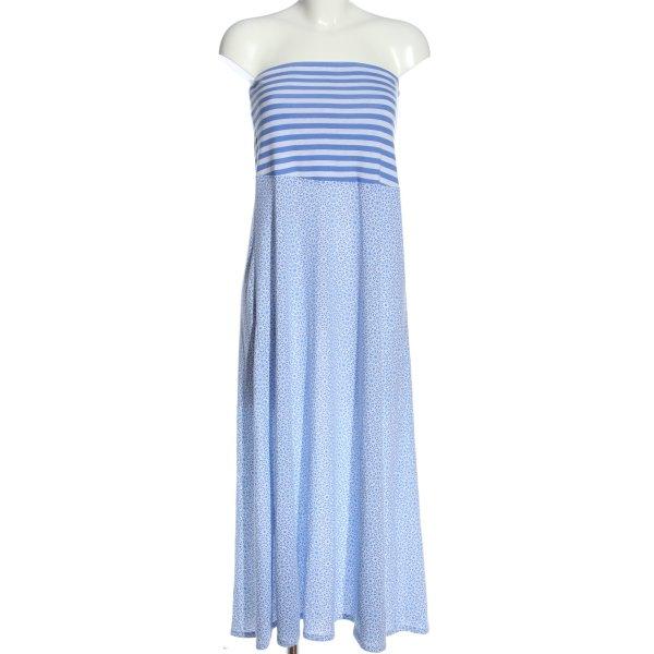 Tchibo / TCM schulterfreies Kleid blau-weiß Blumenmuster Casual-Look