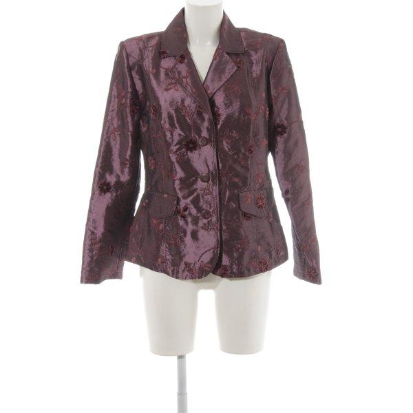 Tendenza Kurz-Blazer braunviolett florales Muster extravaganter Stil