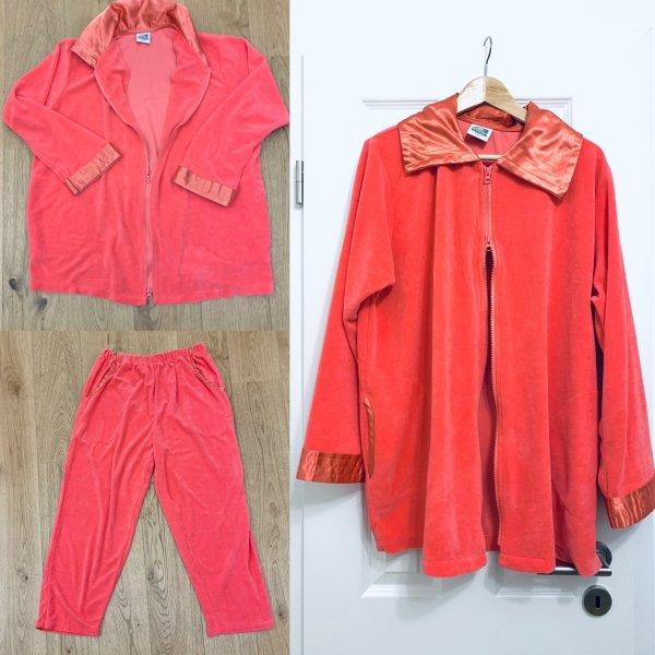 Textiles Vertrauen - Öko Samtweicher Hausanzug, Homewear, rosa Sweater Oberteil XXL