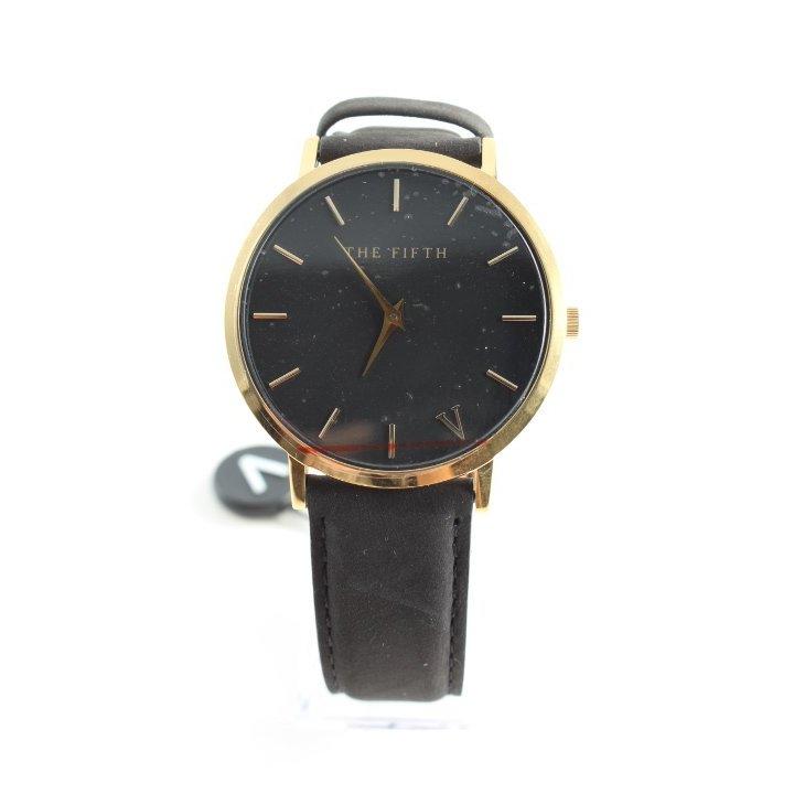 The Fifth Uhr mit Lederarmband schwarz-goldfarben Business-Look