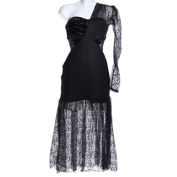 Three Floor One-Shoulder-Kleid schwarz extravaganter Stil
