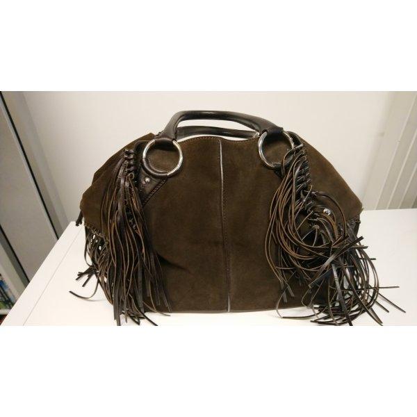 Tod's dunkelbraune  Wildledertasche mit Fransen