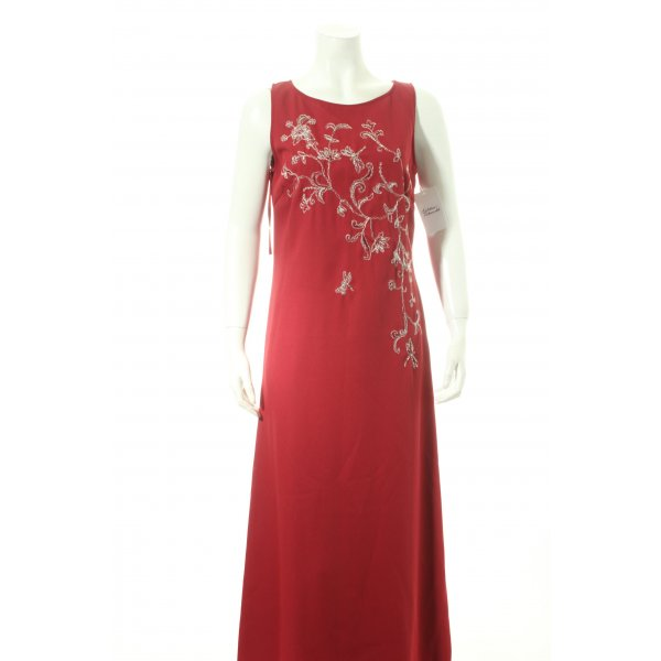 Together Abendkleid dunkelrot-silberfarben florales Muster Eleganz-Look