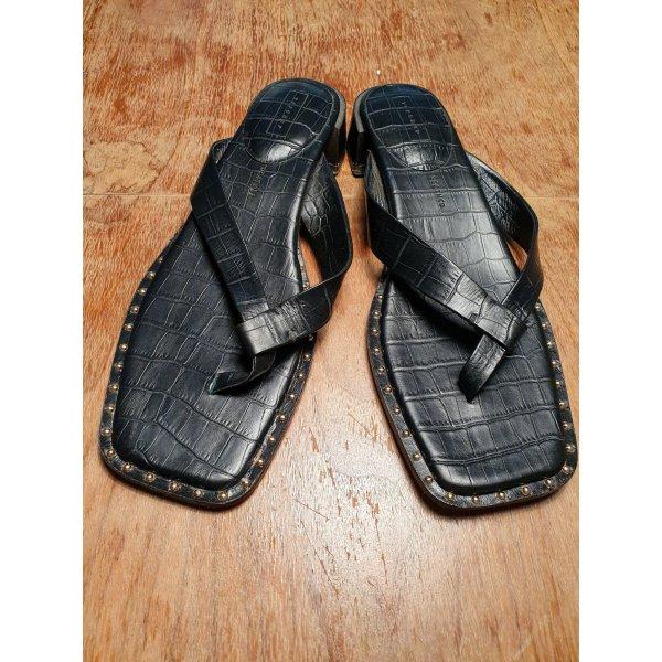 Tolle Sandaletten von Topshop in Größe 42, schwarz mit goldenen Steinen und Krokodil-Optik