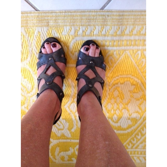 Tamaris Strapped High-Heeled Sandals anthracite leather