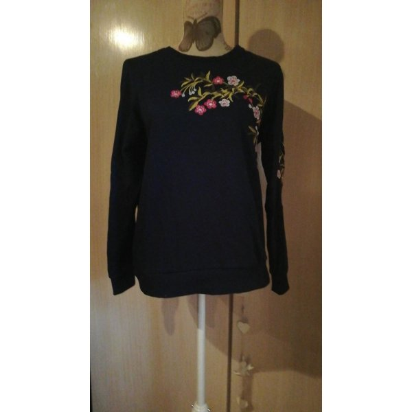 Toller Pullover blau Blumen Stickerei Nice and Chic M