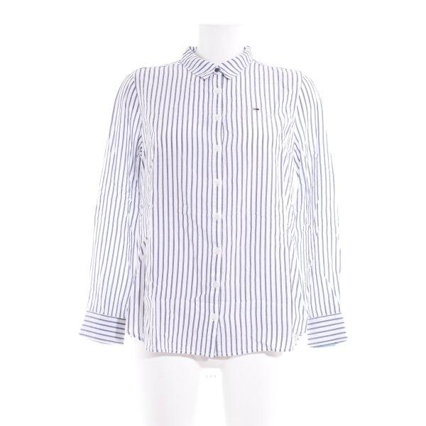 Tommy Hilfiger Denim Hemd-Bluse weiß-graublau Streifenmuster Casual-Look