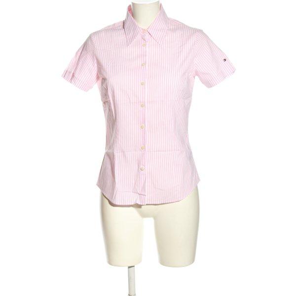Tommy Hilfiger Kurzarmhemd pink-weiß Streifenmuster Casual-Look