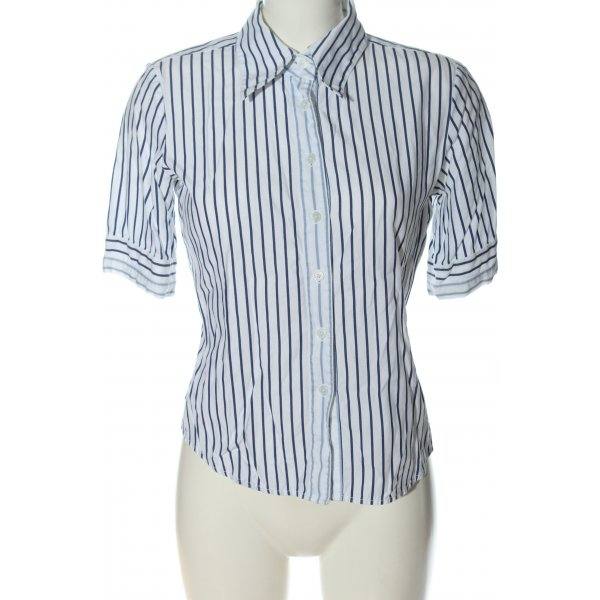Tommy Hilfiger Kurzarmhemd weiß-blau Streifenmuster Casual-Look