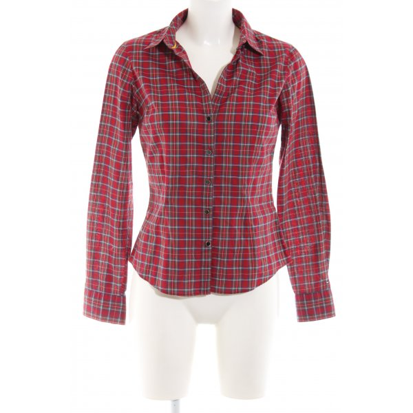 Tommy Hilfiger Langarm-Bluse rot-weiß Karomuster Casual-Look