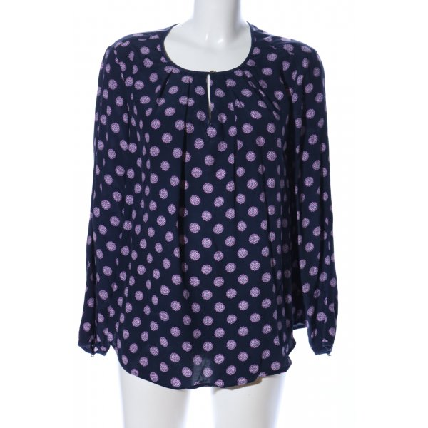 Tommy Hilfiger Langarm-Bluse schwarz-lila Allover-Druck Casual-Look
