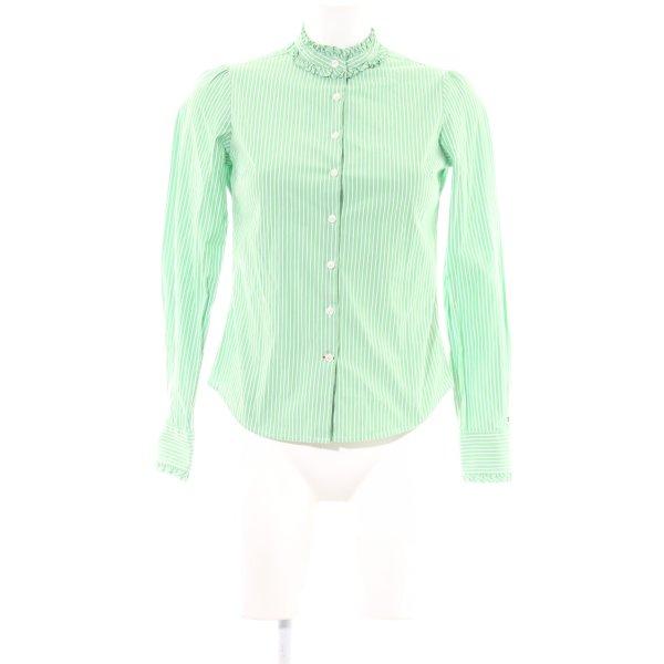 Tommy Hilfiger Langarm-Bluse grün-weiß Streifenmuster Casual-Look