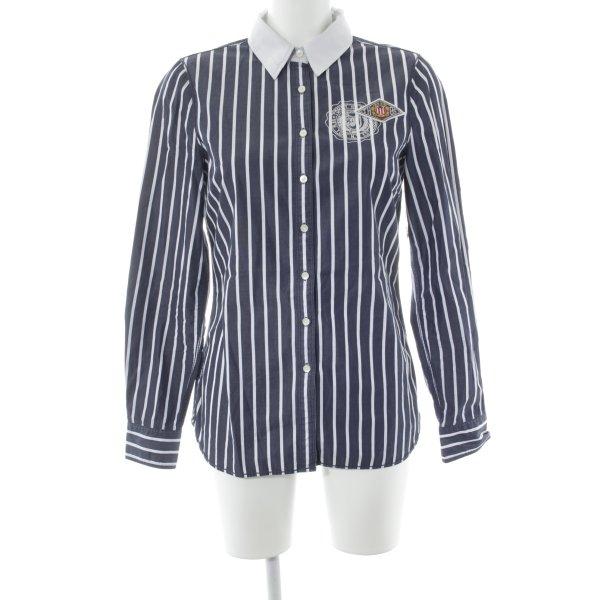 Tommy Hilfiger Langarmhemd dunkelblau-weiß Streifenmuster Casual-Look