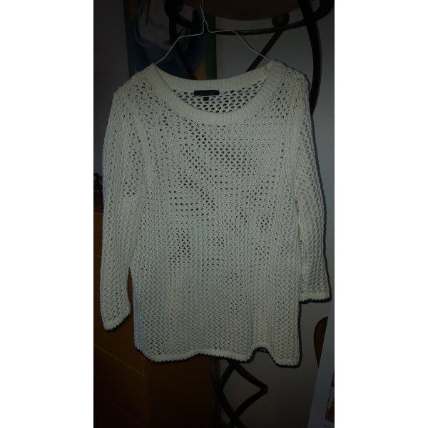 Tommy Hilfiger Pull en crochet blanc cassé-bleu foncé coton