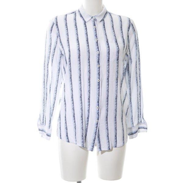Tommy Hilfiger Oversized Bluse weiß-blau Blumenmuster Business-Look
