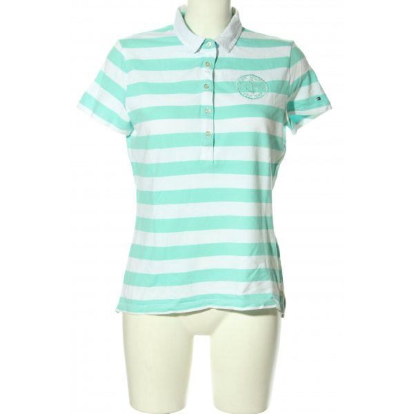 Tommy Hilfiger Polo-Shirt türkis-weiß Allover-Druck Casual-Look