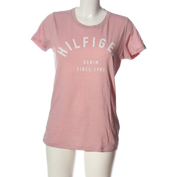 Tommy Hilfiger Print-Shirt pink-weiß Schriftzug gedruckt Casual-Look