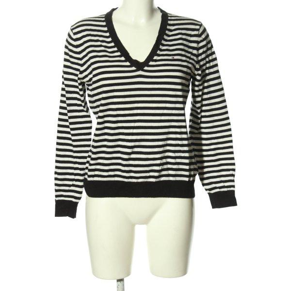 Tommy Hilfiger V-Ausschnitt-Pullover schwarz-weiß Zopfmuster Casual-Look