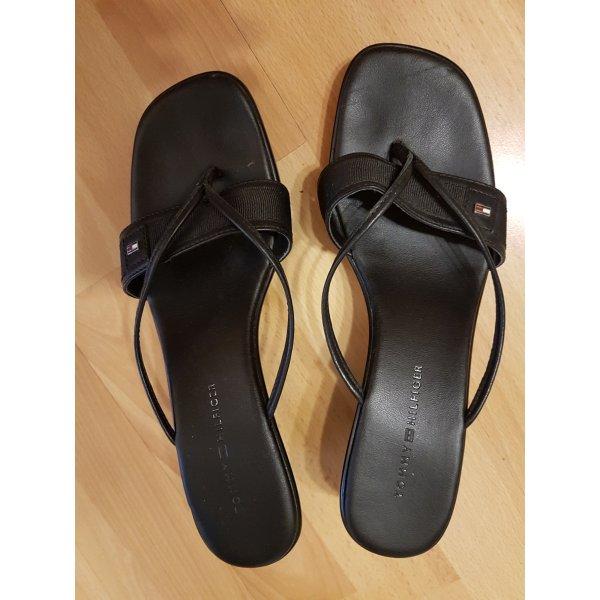 Tommy Hilfiger High-Heeled Toe-Post Sandals black
