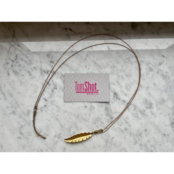 Tomshot Kette mit Anhänger Blatt roseGold lang vergoldet 100 cm