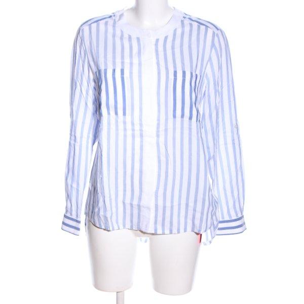 Toni Stehkragenbluse weiß-blau Streifenmuster Business-Look
