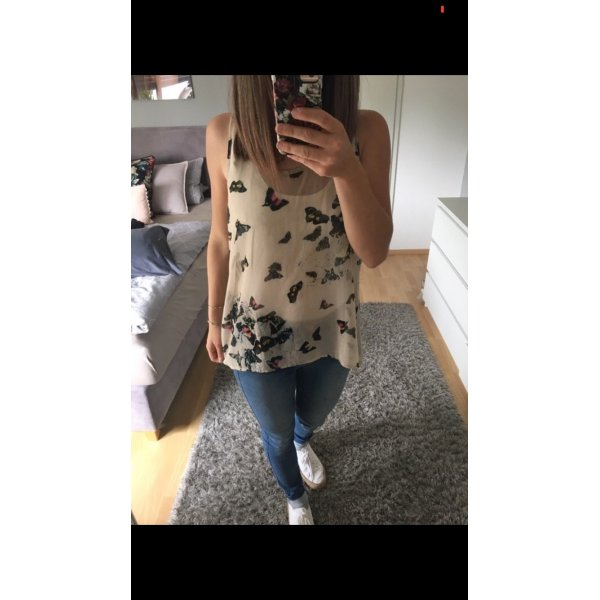 Top Tunika Bluse beige Aufdruck Schmetterling 36 S