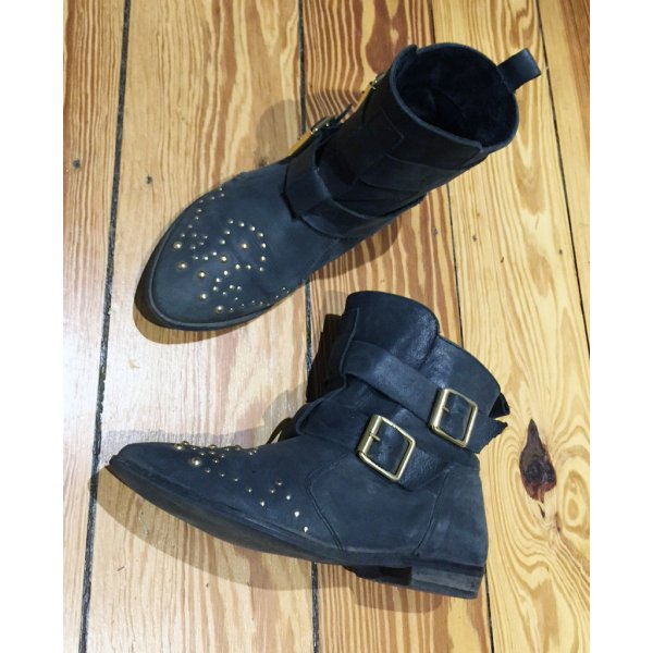 Topshop Aztec Nieten Ankle Boots Stiefeletten Leder Schwarz Gold 38