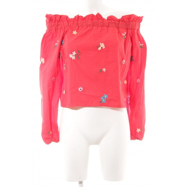 Topshop Carmen-Bluse rot florales Muster Casual-Look