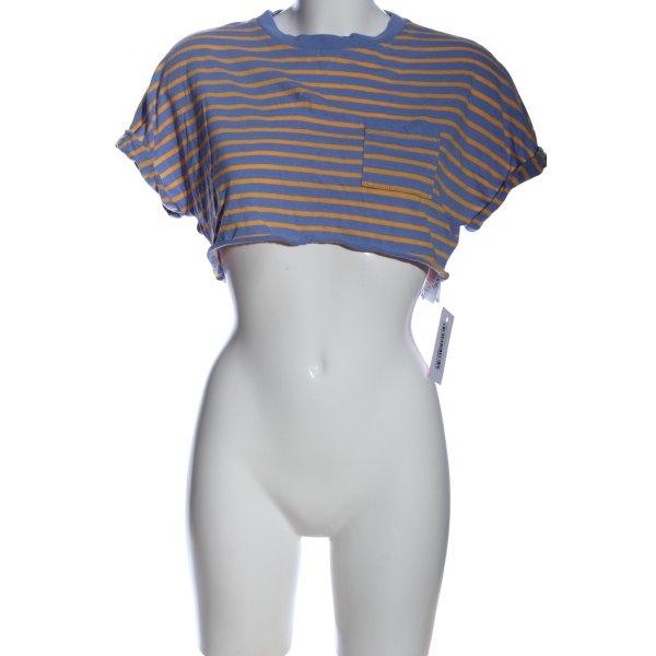 Topshop Cropped Shirt blau-hellorange Streifenmuster Casual-Look