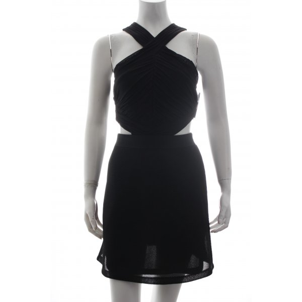 Topshop Cut-Out-Kleid schwarz Materialmix-Look