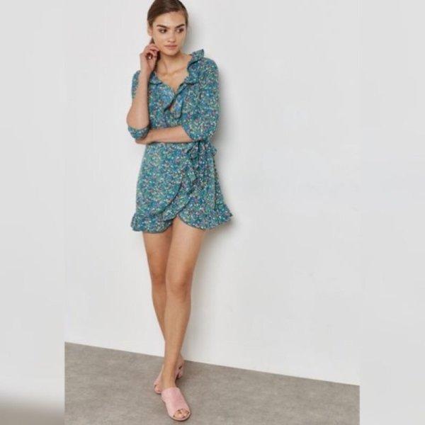 Topshop floral Wickelkleid Realisation neu Blogger Gr. 10 (38) Sommer Volants Rüschen