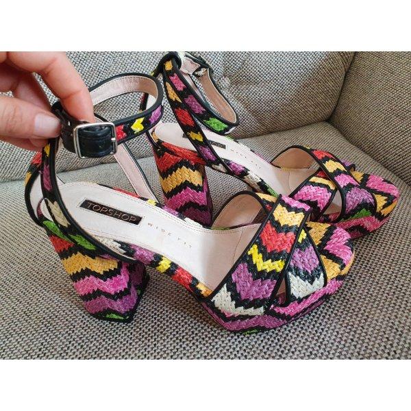 Topshop gr. 38 sandalen sandaletten neu Plateau blockabsatz riemchen schwarz rot pink