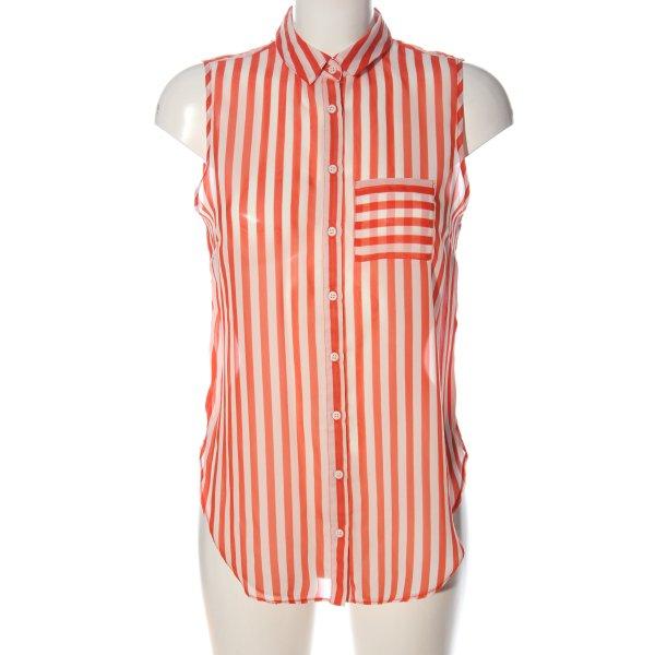 Topshop Hemd-Bluse weiß-pink Streifenmuster Elegant