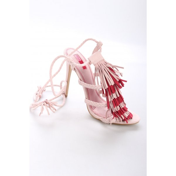 Topshop High Heel Sandaletten hellrosa-himbeerrot Fransenbesatz