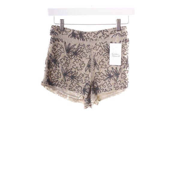 Topshop High-Waist-Shorts graubraun-schwarz Perlenverzierung