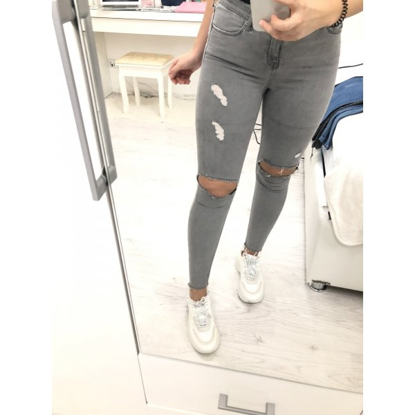 Topshop Jamie Jeans zerissen Skinny Hellgrau