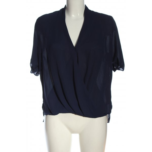 Topshop Kurzarm-Bluse blau Business-Look