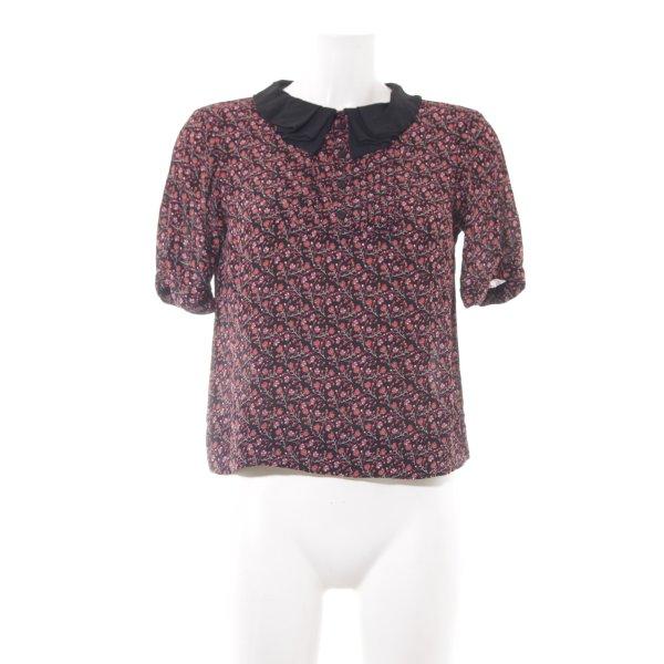 Topshop Kurzarm-Bluse schwarz-dunkelrot florales Muster Romantik-Look