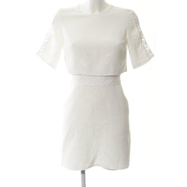 Topshop Kurzarmkleid weiß-wollweiß Mustermix Elegant