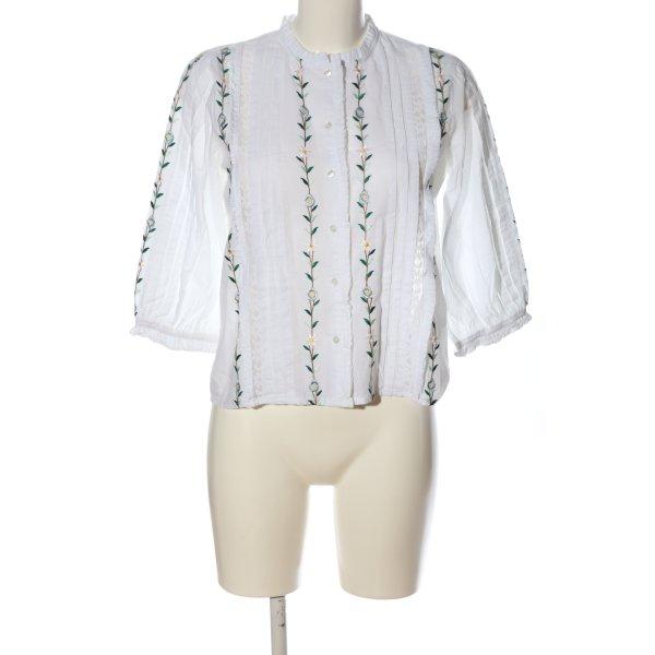 Topshop Langarm-Bluse weiß Blumenmuster Casual-Look