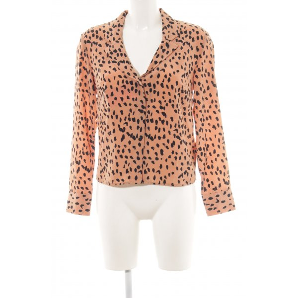 Topshop Langarm-Bluse apricot Farbtupfermuster Casual-Look