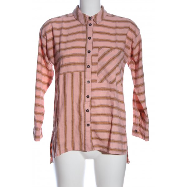 Topshop Langarmhemd pink-braun Streifenmuster Casual-Look