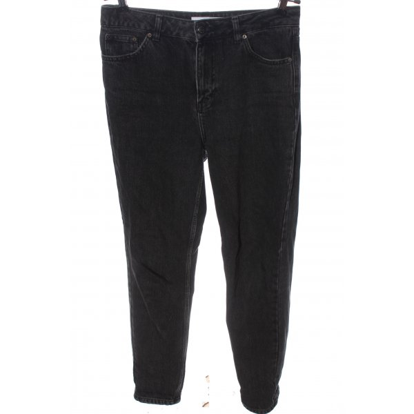 Topshop Mom-Jeans schwarz-hellgrau Casual-Look