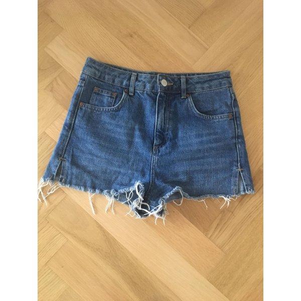 Topshop Pantalón corto de tela vaquera azul-azul oscuro Algodón