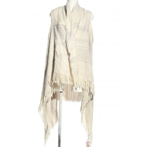 Topshop Poncho wollweiß grafisches Muster Casual-Look